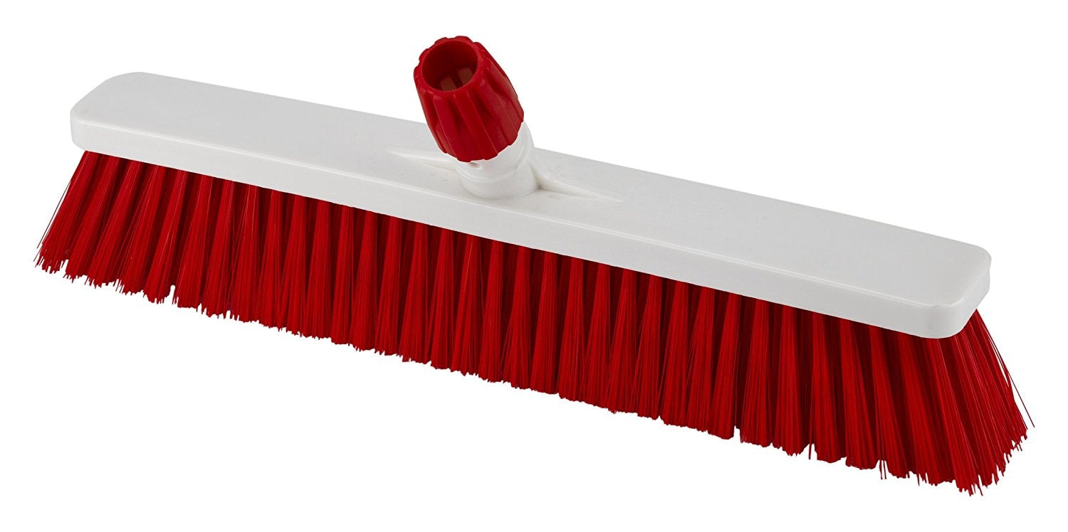 Aricasa Professional Floor Broom, Red, Hard, 3 Count