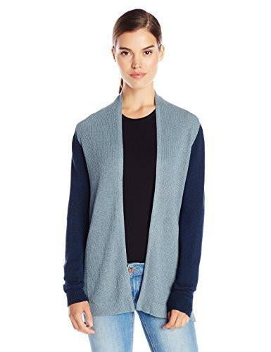 bela.nyc Women's Mona Waffle Stitch Open Cardigan Sweater (Medium/3, Blue Multi)