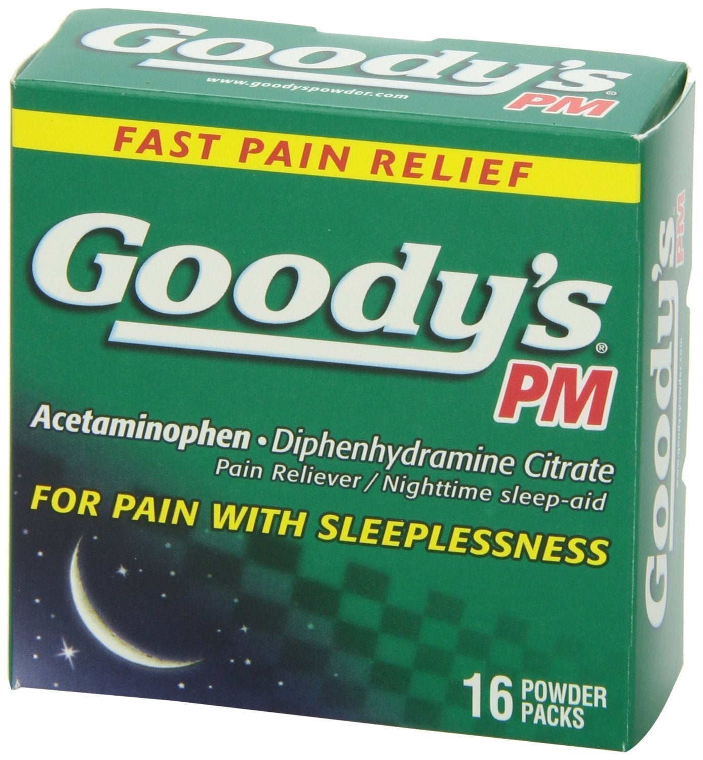 4 Packs of 16 Goody's PM Acetaminophen Diphenhydramine Citrate Pain Reliever/ Nighttime sleep aid