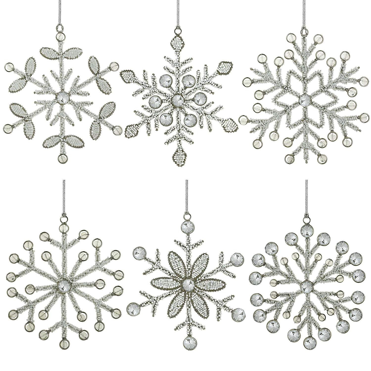 ShalinIndia Set of 6 Handmade Snowflake Iron and Glass Pendant Christmas Tree Ornaments (9 Inches)
