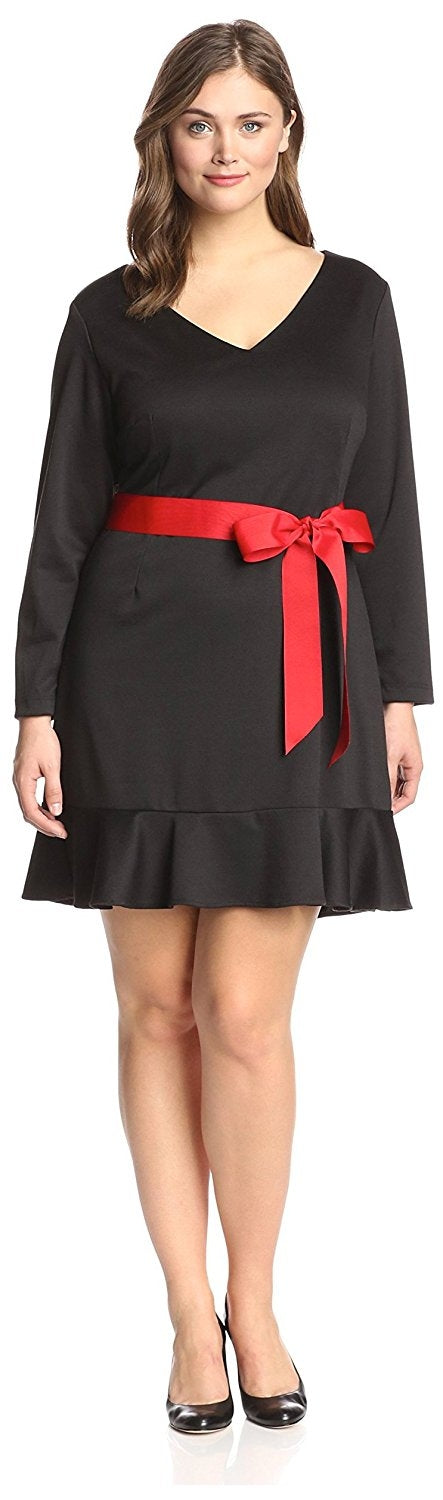 Melissa Masse Plus Women's Ruffle Hem Dress, Black/Red, 2X