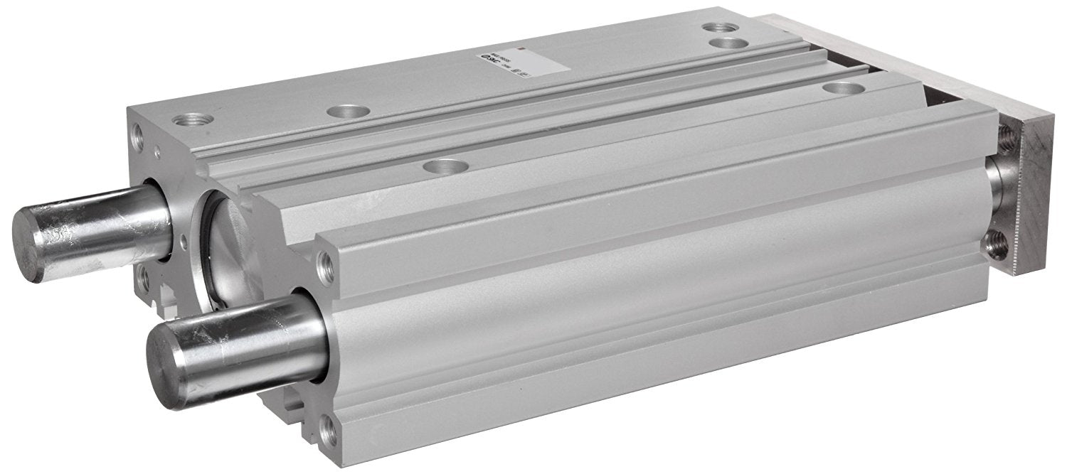 "SMC MGPM32-25 Aluminum Air Cylinder with Guide Rod Plate, Slide Bearing, Compact, Double Acting, Switch Ready, Rubber Cushion, 32 mm Bore OD, 25 mm Stroke, 16 mm Rod OD, 1/8"" BSPT"