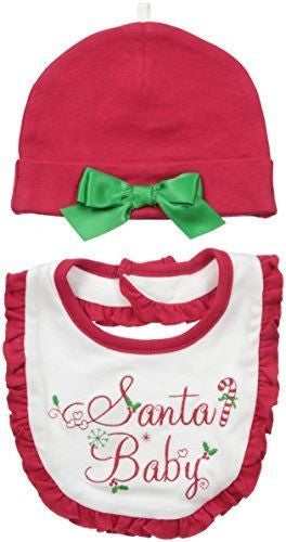 Lovespun Baby Holiday Picture 2 Pc Hat and Bib Set, Santa Baby, 0-12 Months