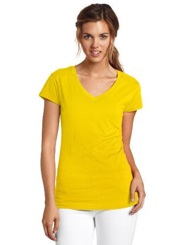 Dickies Girl Juniors Short Sleeve V-Neck Tee,Sunflower,Medium