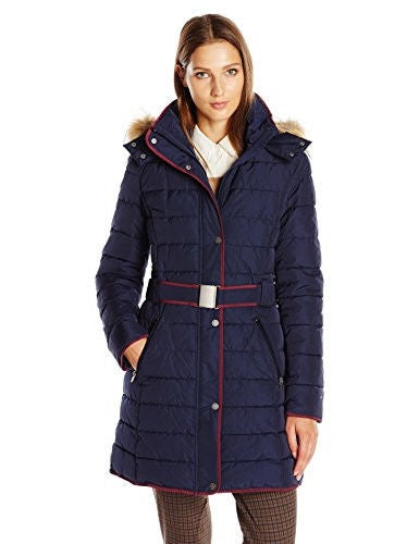 Tommy Hilfiger Women's Belted Down Coat with Fur Trim Hood, Navy, S