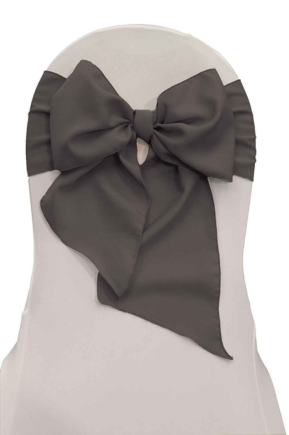 LA Linen Polyester Poplin Chair Bow Sashes, 7 by 108-Inch, Dark Gray, 10-Pack
