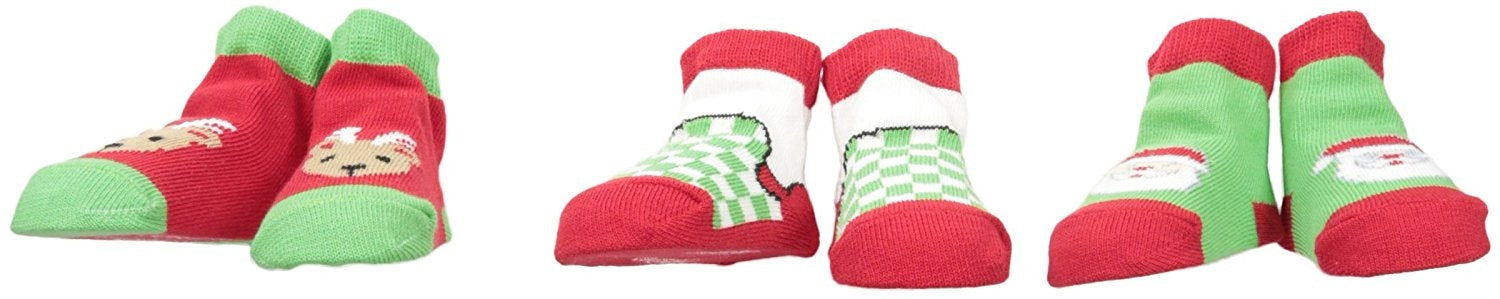 Lovespun Boys' 3 Pack Gift Box Sock Set, Santa, 0-12M