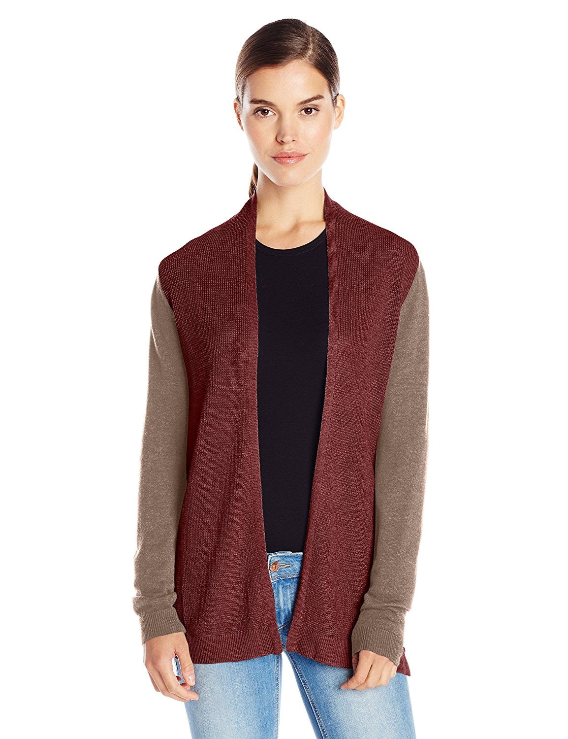 bela.nyc Women's Mona Waffle Stitch Open Cardigan Sweater