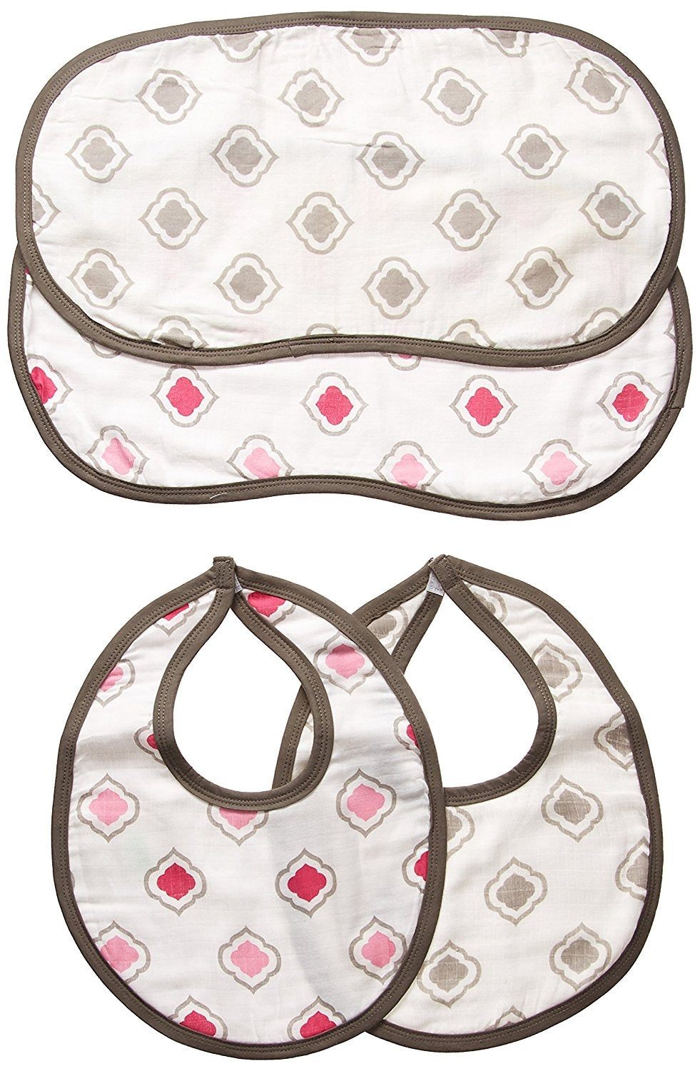 Bacati Moroccan Tiles Muslin 4 Piece Set of Burpies or Bibs, Pink/Grey