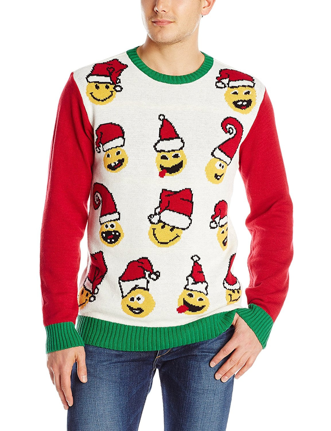 Ugly Christmas Sweater Men's Emoji, White Hea, Large
