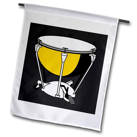 3dRose fl_44856_1 Yellow/White Drum on Black Garden Flag, 12 by 18-Inch