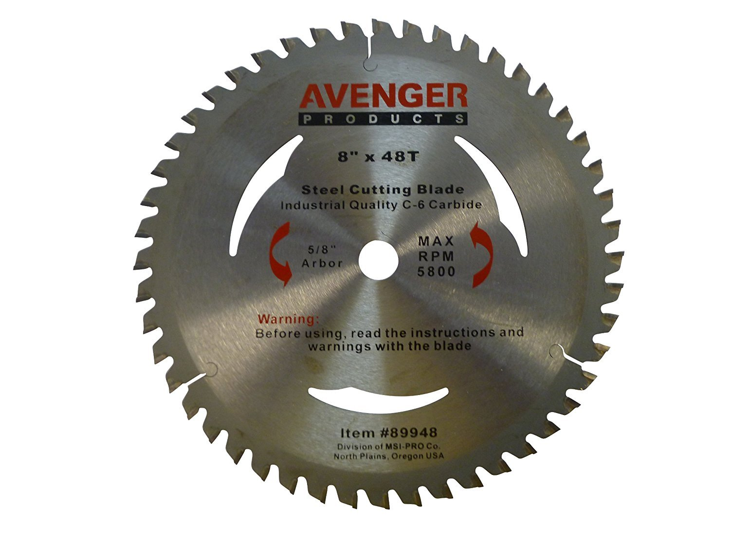 Avenger AV-89948 Steel Cutting Saw Blade, 8-inch by 48 tooth, 5/8-inch arbor, C-6, TCG