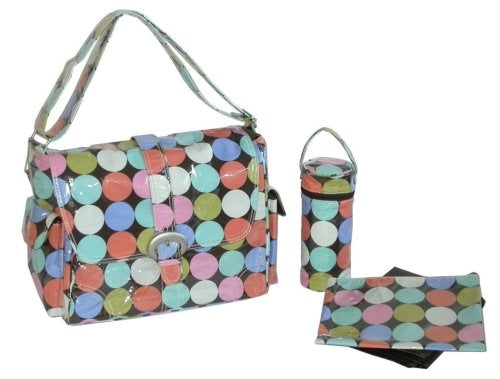 Kalencom Laminated Buckle Bag, Disco Dots Cocoa