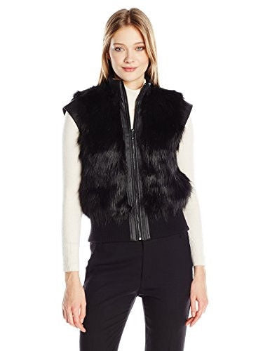 Calvin Klein Jeans Women's Faux Fur Vest, Black, LARGE