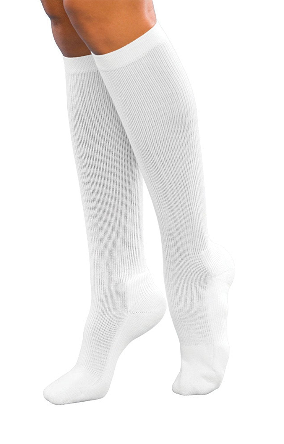 Max Compression 35-40 mmHg Medical Socks for Women, White, Medium, 4.2 Ounce (Pack of 2)