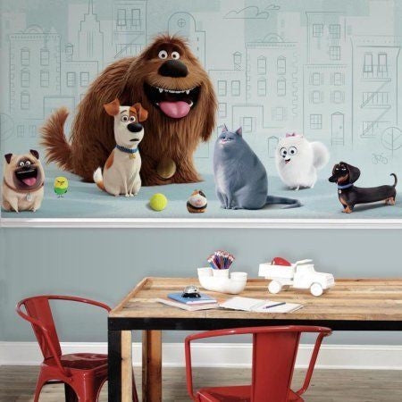 Roommates Secret Life Of Pets Xl Chair Rail Mural, 6' x 10.5', Ultra-Strippable