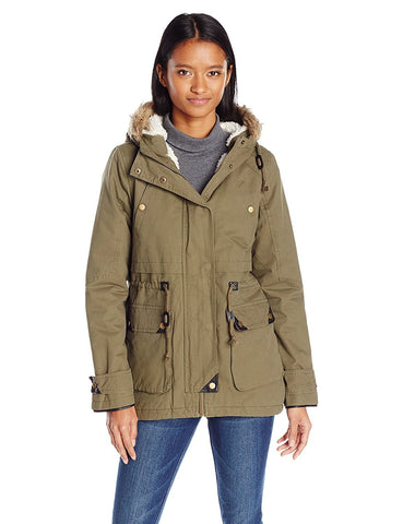 Angie Women's Faux Furry Lined Hooded Utility Jacket, Green, Medium