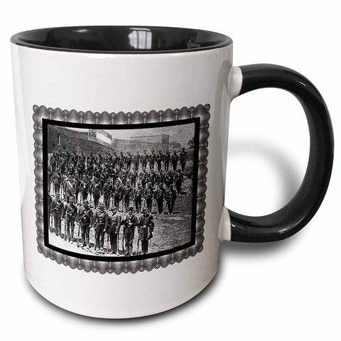 3dRose mug_171321_4 Sumter Light Guards Standing at Attention, Augusta, GA, April 1861 - Two Tone Black Mug, 11oz