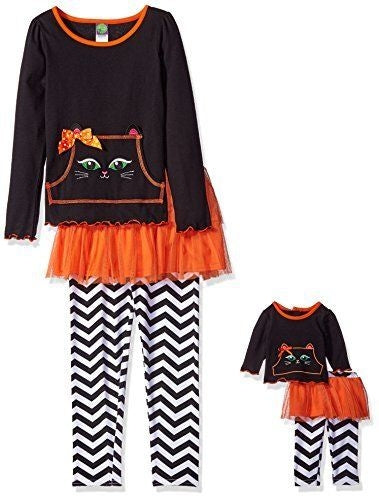 Dollie & Me Girls Knit Long Sleeve Top with Cat Applique & Pocket Detail w/ Tutu