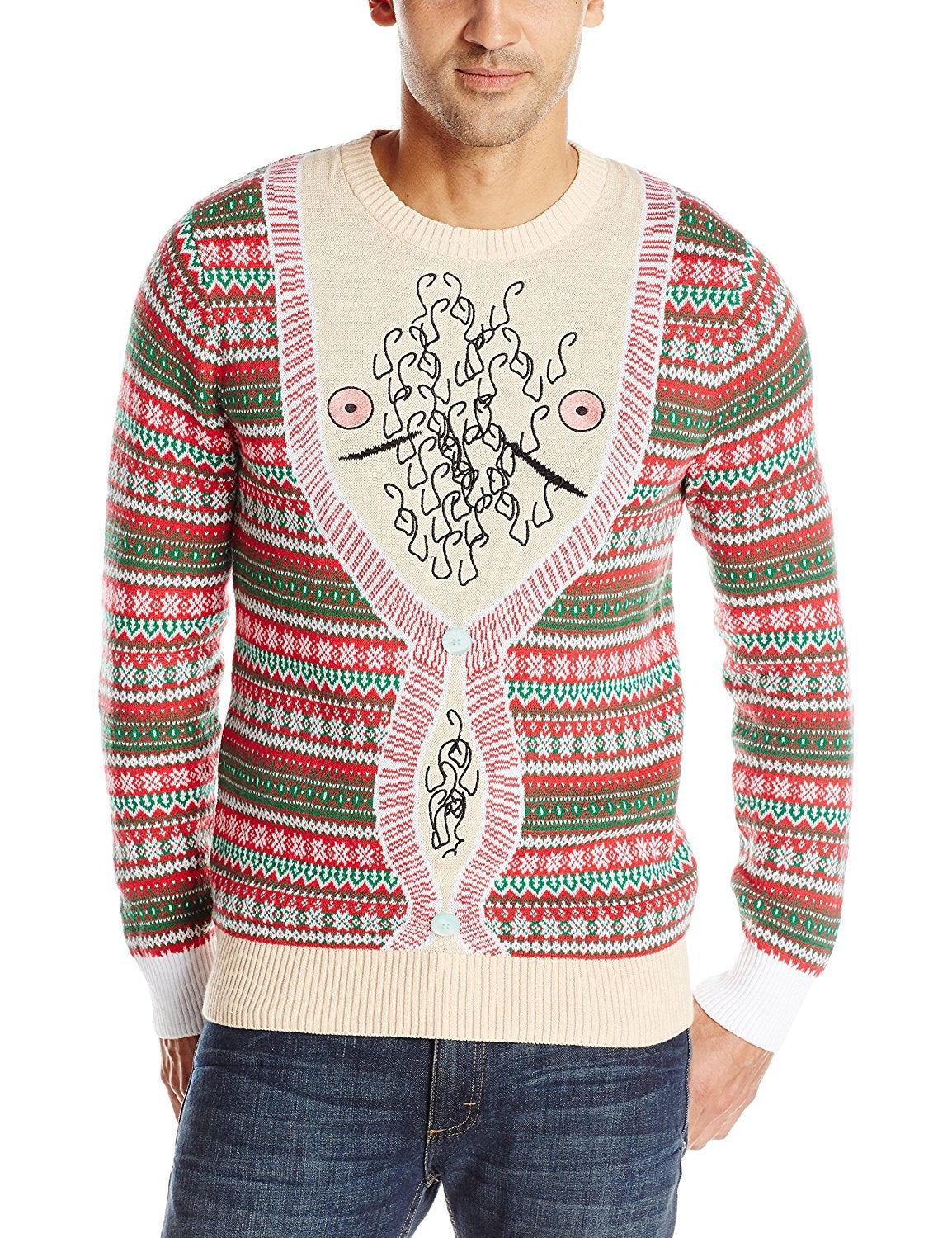 Alex Stevens Men's Hairy Chest Cardigan Ugly Christmas Sweater, Peach, Medium