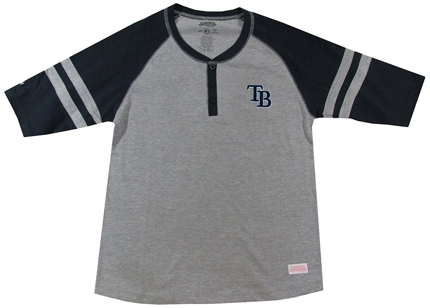 MLB Tampa Bay Rays Girl's Colorblocked Henley Top, Grey, Medium