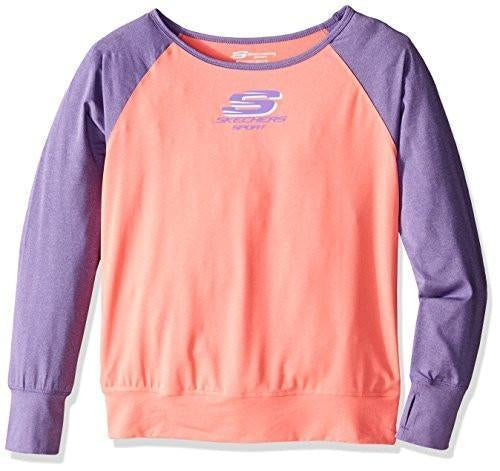Skechers Big Girls' Sport Long Sleeve T-Shirt Fiery Coral Medium New