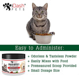 Advanced Probiotics for Dogs and Cats by iDash Pets- Best Natural Powder Pet Probiotic Supplement- Relieves Dog Bad Breath, Constipation, Skin Allergies, Diarrhea- Aids Digestive Health - 6 oz