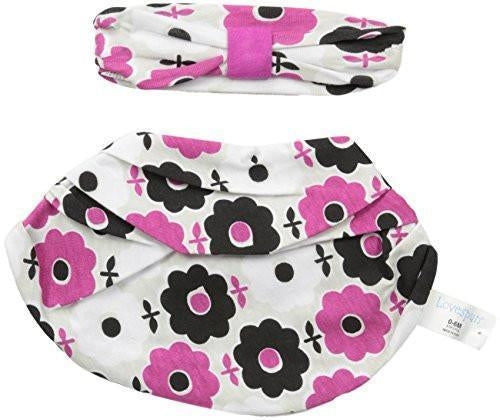 Lovespun Baby Girls 2 Piece Headband & Infinity Bib Set (Flowers)