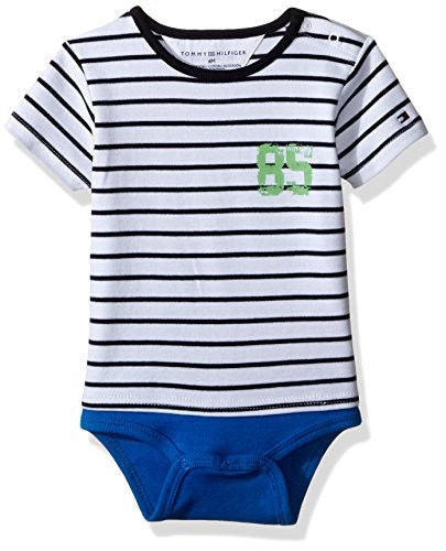 Tommy Hilfiger Baby Boys' Short Sleeve Striped Bodysuit, Electric Blue, 3 Months