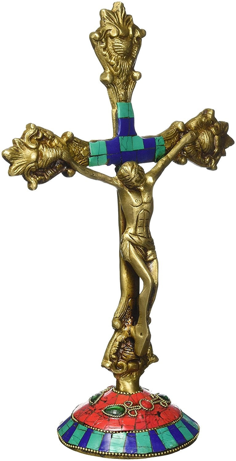 "11"" Cross Jesus Statue Christ Crucifix Handmade Catholic Brass Figurine Sculpture"