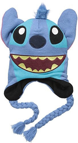 Disney Lilo and Stitch Character Hat with Tassels and 3D Ears,Blue, One Size