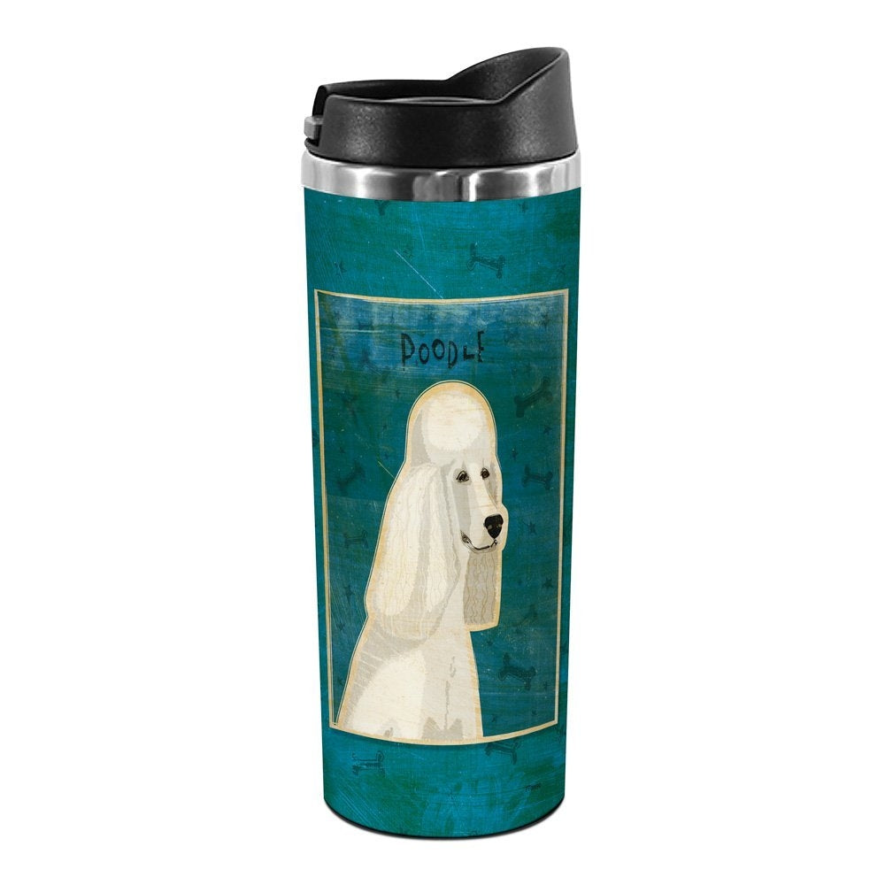 Tree-Free Greetings TT01990 John W. Golden 18-8 Double Wall Stainless Steel Artful Tumbler, 14-Ounce, White Poodle