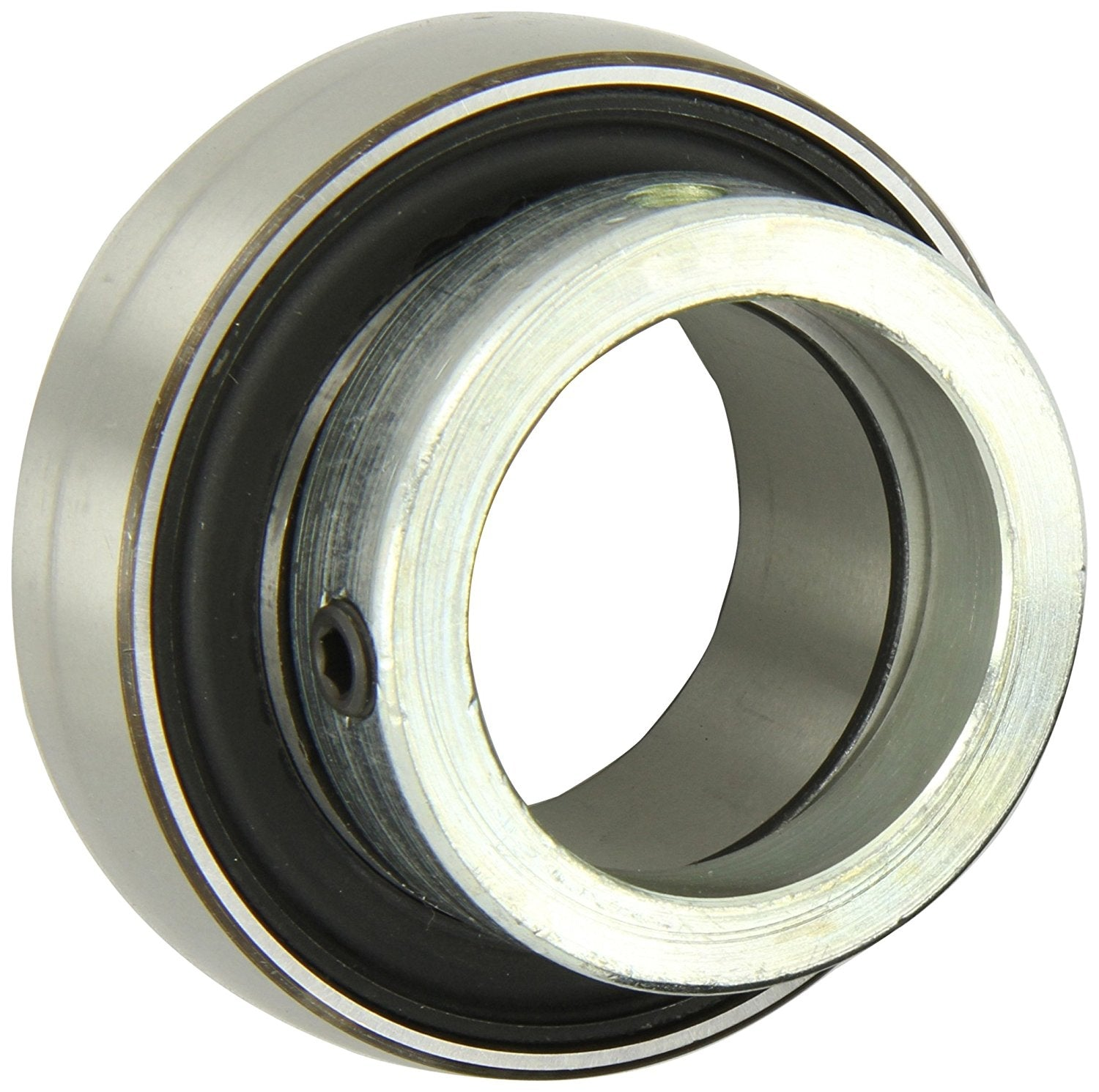 "SKF YET 205-015 Ball Bearing Insert, Eccentric Collar, Contact Seals, Regreasable, Steel, 15/16"" Bore, 52 mm OD , 15 mm Outer Ring Width"