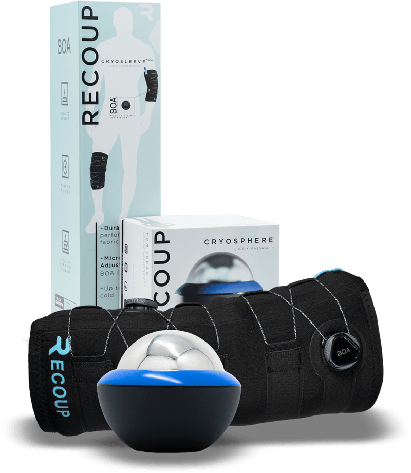 Recoup Cold Recovery Kit. Includes Ice Massage and an Ice Compression sleeve.