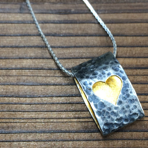 Heart Ellipse Pendant - Oxidised