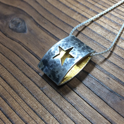 Star Ellipse Pendant - Oxidised