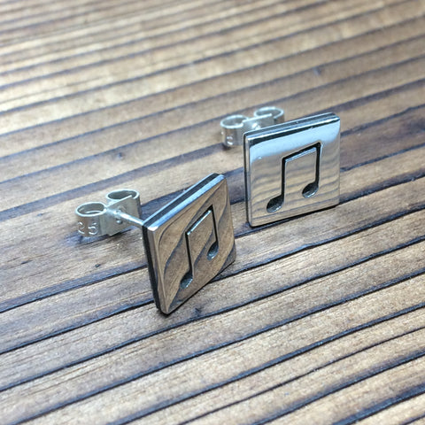 Music note earrings - polished finish
