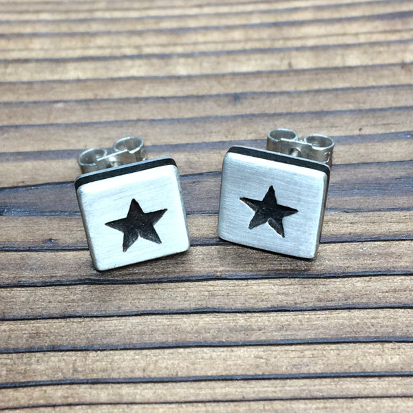 Star earrings - brushed finish