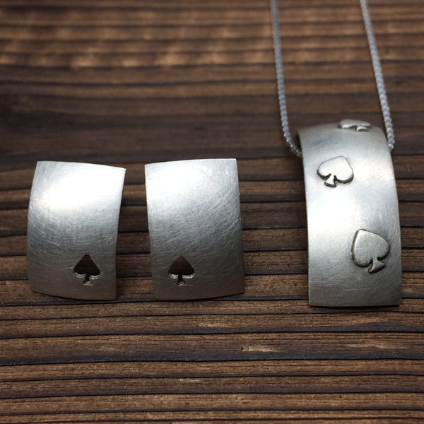 Ace of Spades Pendant and Earring set