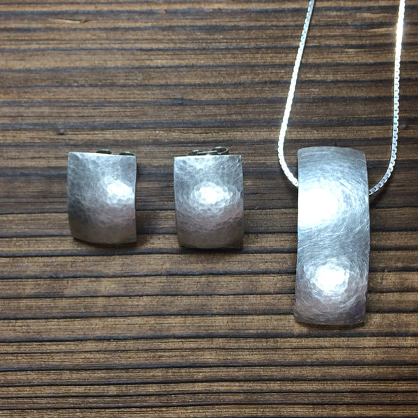 Hammered Arc Pendant and Earring set