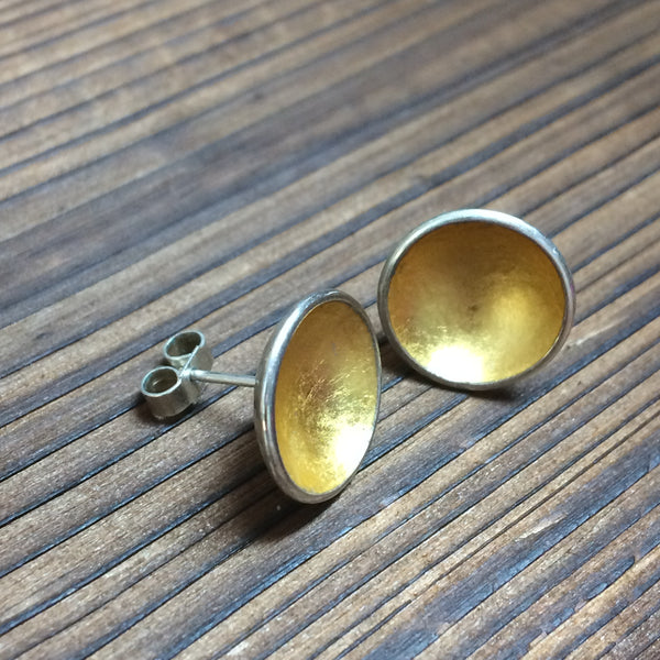 Dished gold leaf earrings