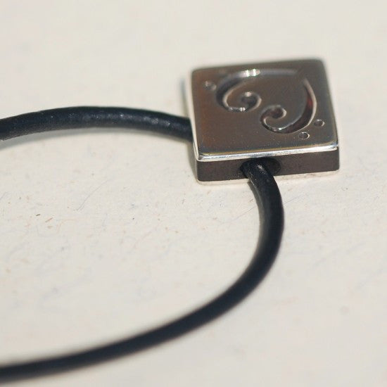 Handmade Silver square bass heart pendant, only at Ed Vincent Jewellery - 2