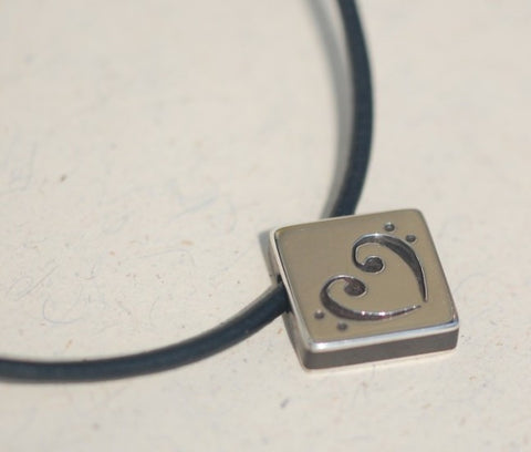 Handmade Silver square bass heart pendant, only at Ed Vincent Jewellery - 1