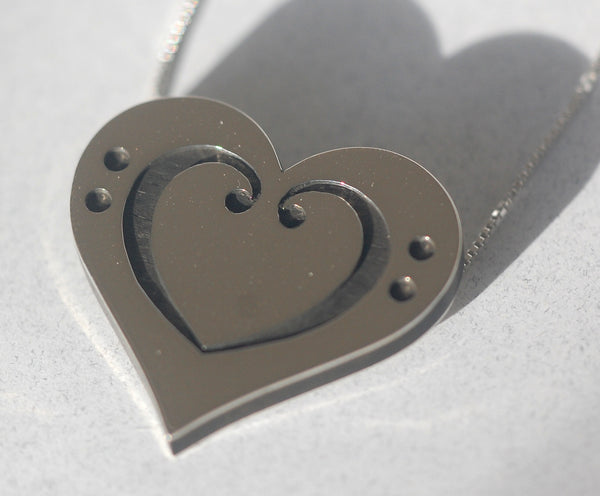 Handmade Silver bass clef heart pendant, only at Ed Vincent Jewellery - 1