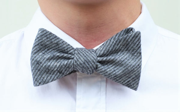Classic Gray Striped Cotton Bow Tie