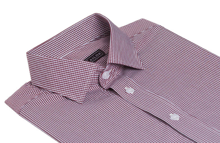 Red Micro Gingham Dress Shirt