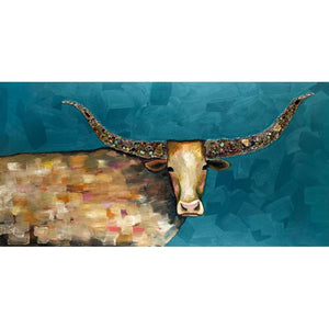 Longhorn Geode Framed Giclee Canvas ~ Blue - Cece & Me - Home and Gifts