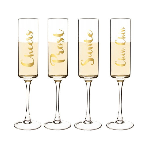 Gold Cheers Contemporary Champagne Flutes 8 oz. - Cece & Me - Home and Gifts