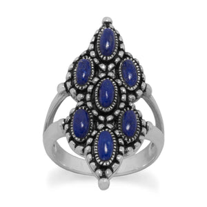 Ornate Oxidized Lapis Ring - Cece & Me - Home and Gifts