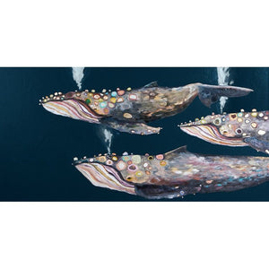 Humpback Whale Pod on Indigo ~ Framed Giclee Canvas - Cece & Me - Home and Gifts
